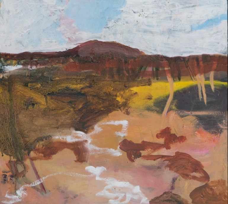 JOANNA COLE Wide Brown Land and Barrier Ranges 2018 Oil on Board 50x45 $650