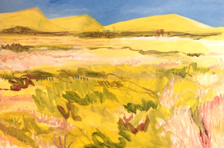 One Hundred Acres of Cut Wheat, 2018, 80x60cm Oil on board, Framed, $880
