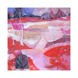 Hill End Red Earth, Purple Sky, 30x30 Mixed Media on Canvas
