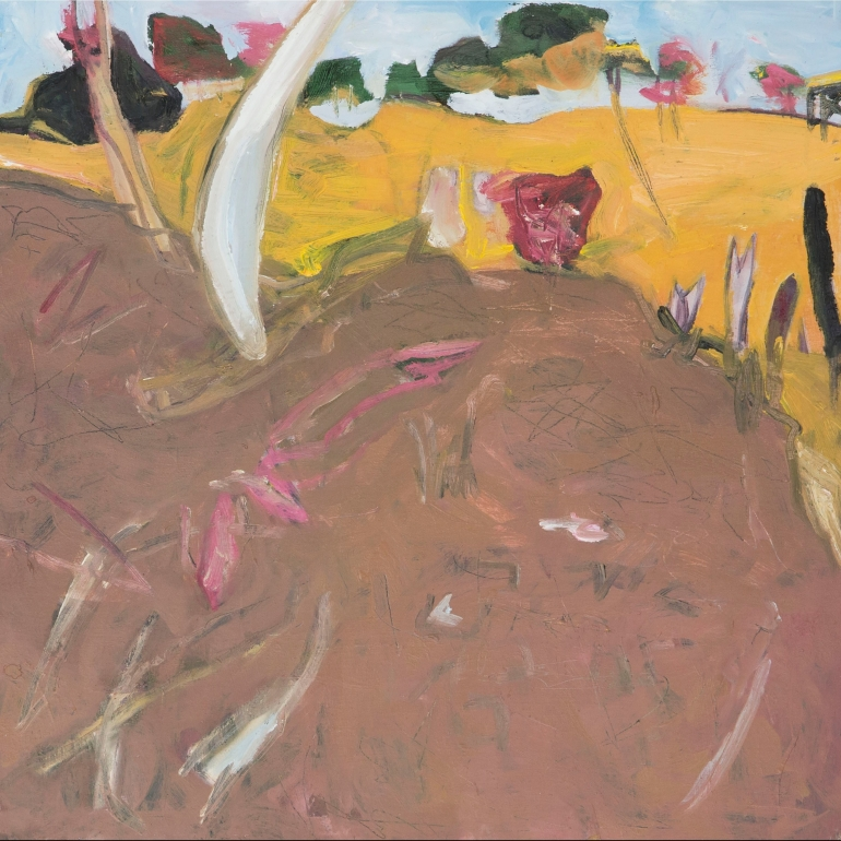 FRAMED JOANNA COLE Wide Brown Dried Brown River Bank 2018 Oil on Board 30x30 $400