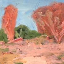SOLD Rust trees near Coolac, 20x20cm Oil on board $385