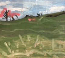 4. Emerald Hillside with Pink Trees,2019, 20x20cm, Oil on Board