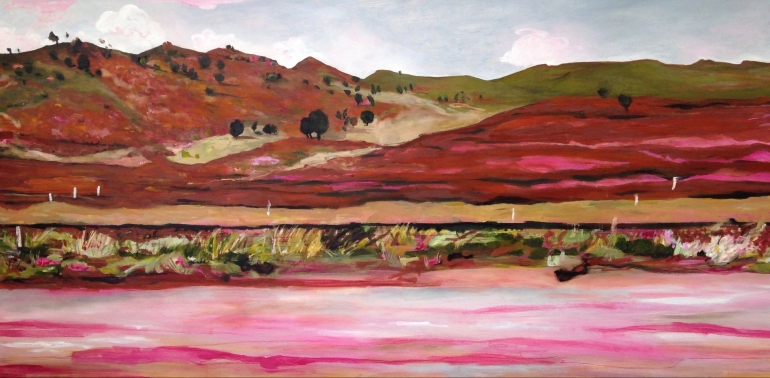 200x100 Road Trip Passing Coolac, oil on board, $2500