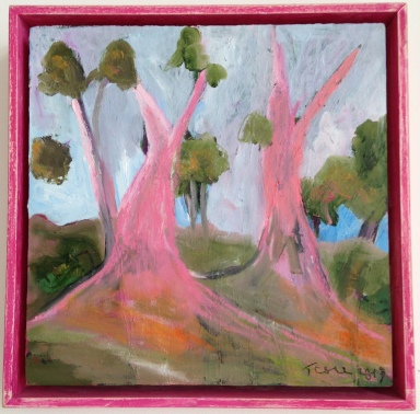 Pink Majestic Gums, 2019, Pink Timber Frame, 20x20, Oil on Board, $385