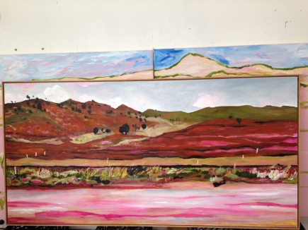 Road Trip passing Coolac, 200x100cm, Oil ono Board, $2500