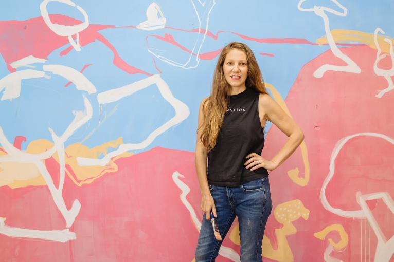 Joanna Cole at The Nest Creative Studio Level 2, in front of Road Trips 2020 Mural Wall #1, 3m x 5m